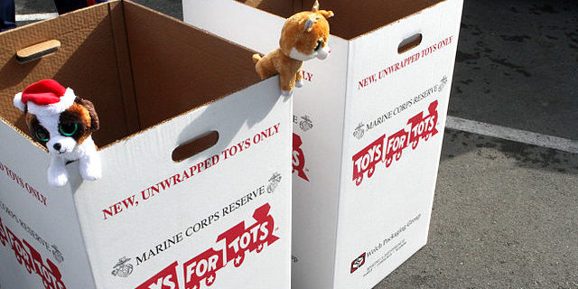 Toys for Tots cardboard donation bins