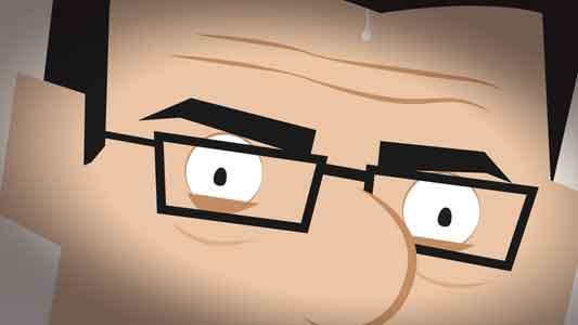 Closeup view of MyRQB cartoon character (face) with bead of sweat