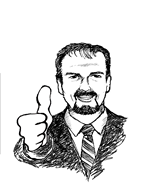 Drawing of Mark Kilduff with his thumb up