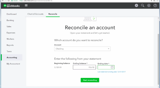 Screenshot of how to reconcile an account using QuickBooks