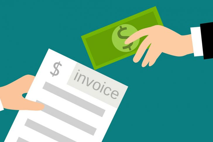 Pictogram of someone holding an invoice and cash